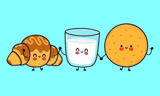 ミルクとチョコレートクロワッサンキャラクターバンドルセットの面白いかわいい幸せなクッキーグラス