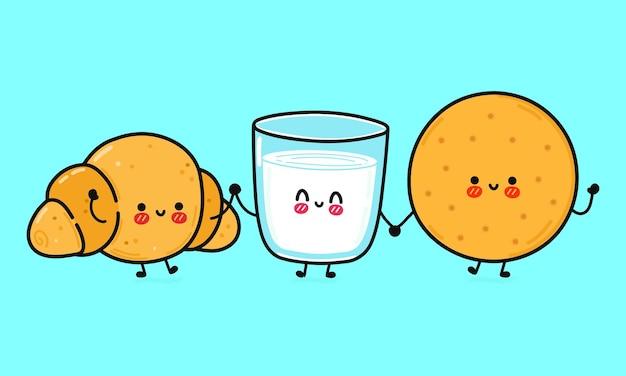 ミルクとクロワッサンのキャラクターのバンドルセットの面白いかわいい幸せなクッキーグラス