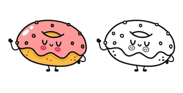 面白いかわいい幸せなドーナツキャラクターバンドルセット塗り絵のアウトライン漫画イラスト