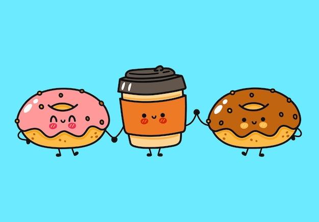 Набор забавных милых счастливых пончиков, кофе и шоколадных пончиков