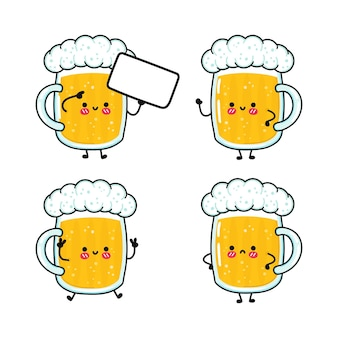 Набор забавных милых счастливых персонажей из бокала пива