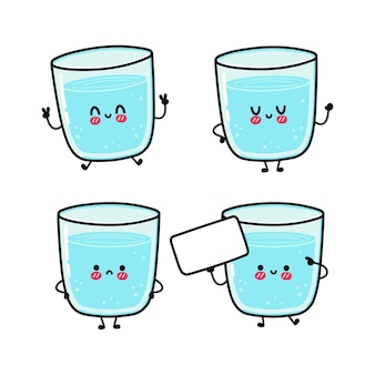 Funny cute happy glass of water characters bundle set