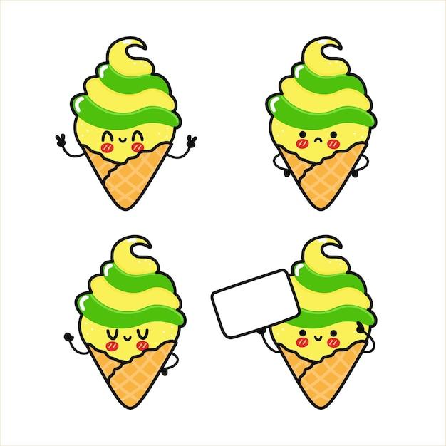 面白いかわいい幸せなアイスクリームキャラクターバンドルセット Premiumベクター