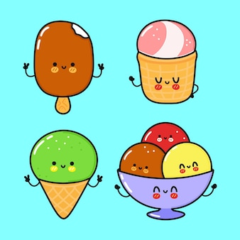 面白いかわいい幸せなアイスクリームキャラクターバンドルセット