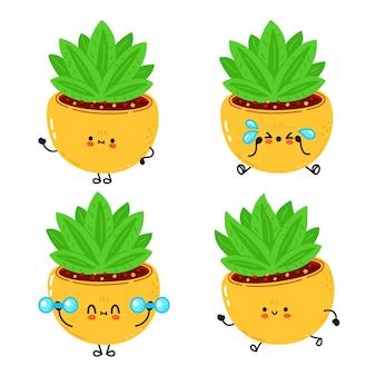 재미있는 귀여운 행복한 실내 식물 만화 캐릭터 번들 세트 프리미엄 벡터