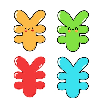 Funny cute happy japanese yen characters bundle set