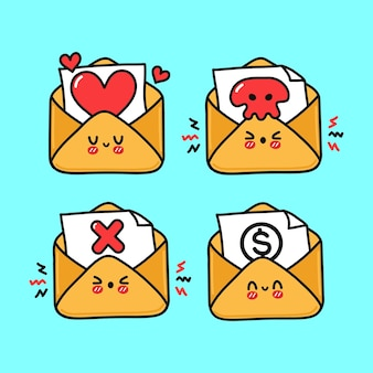 Funny cute happy letter characters bundle set