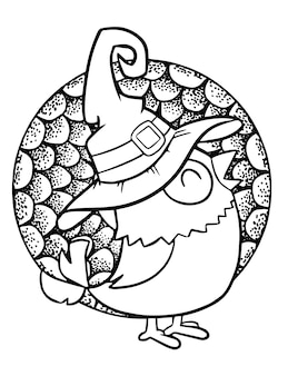 Funny and cute happy little bird wearing witch hat for halloween - coloring page