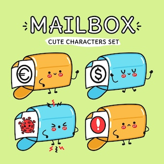 Funny cute happy mailbox characters bundle set