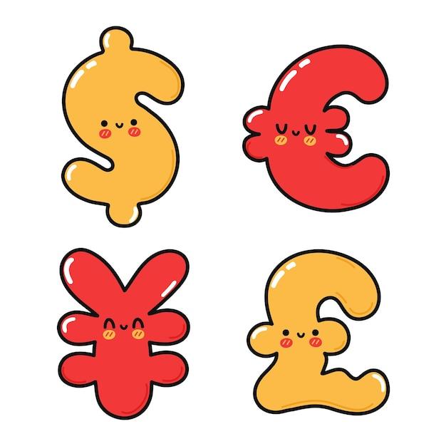 Funny cute happy money symbols characters bundle set