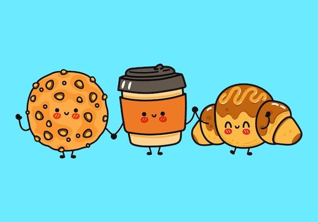面白いかわいい幸せなオートミールクッキーコーヒーとチョコレートクロワッサンキャラクターバンドルセット