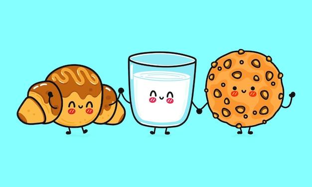面白いかわいい幸せなオートミールクッキーミルクとチョコレートクロワッサンキャラクターバンドルセットのガラス