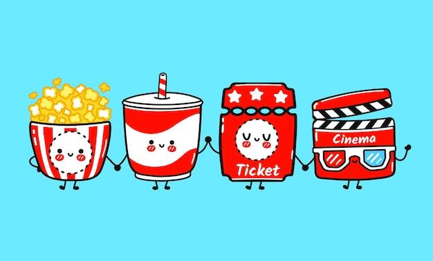 재미있고 귀여운 해피 팝콘 영화 클래퍼 레모네이드 티켓 캐릭터 번들 세트
