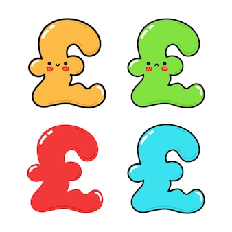 Funny cute happy pound sterling characters bundle set