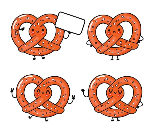 Funny cute happy pretzel characters bundle set
