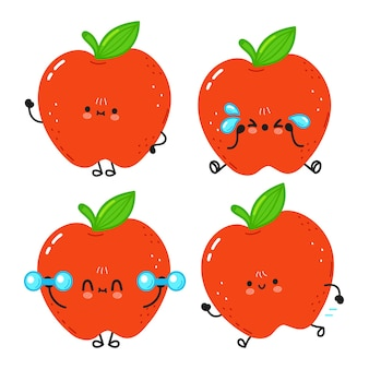 Funny cute happy red apple characters bundle set. vector kawaii line cartoon style illustration. cute planet apple mascot character collection