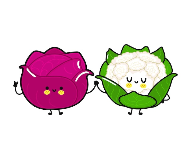 Funny cute happy red cabbage and cauliflower characters bundle set
