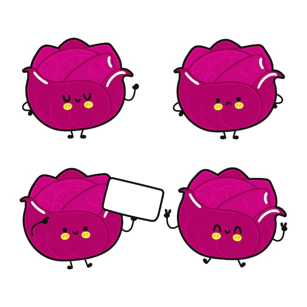 Funny cute happy red cabbage characters bundle set
