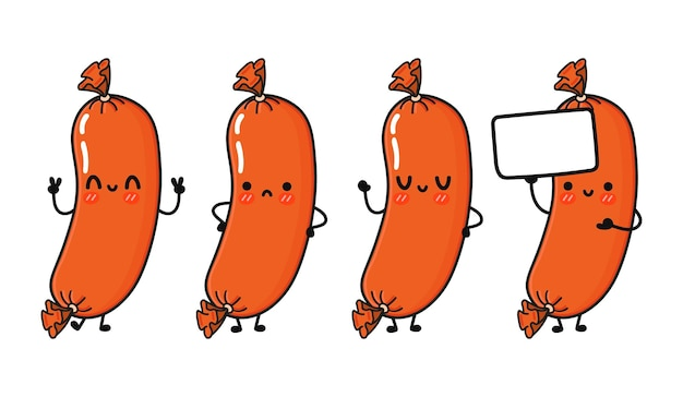 Funny cute happy sausage characters bundle set