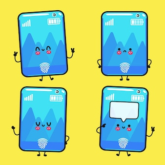Funny cute happy smartphone cartoon characters bundle set