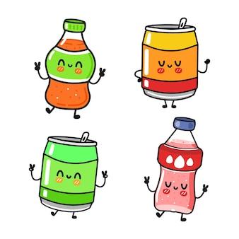 面白いかわいい幸せなソーダキャラクターバンドルセット