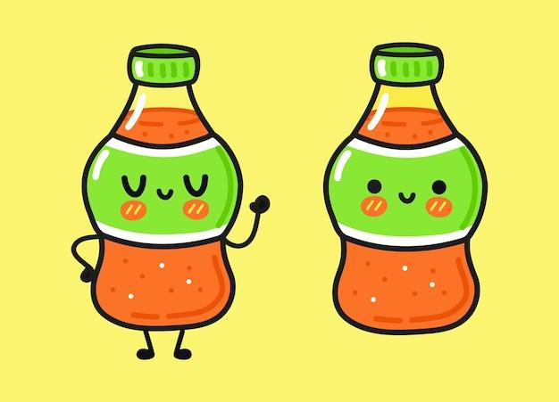 Funny cute happy soda characters bundle set