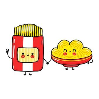 Набор забавных милых счастливых персонажей спагетти