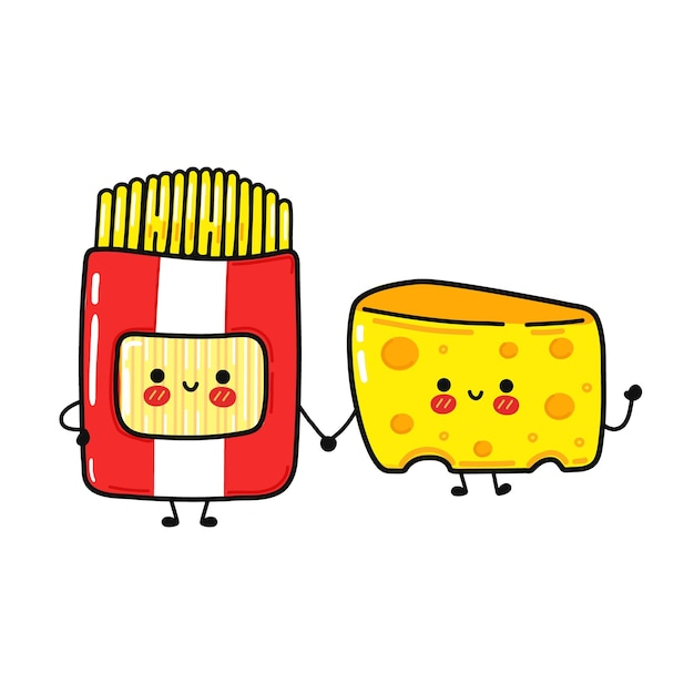 Funny cute happy spaghetti whith cheese characters bundle set.