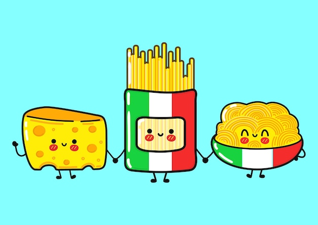 Funny cute happy spaghetti whith cheese characters bundle set