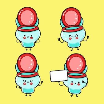 Funny cute happy toilet characters bundle set
