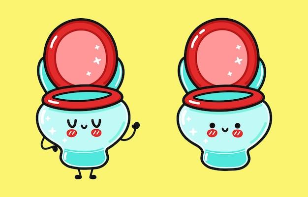 面白いかわいい幸せなトイレのキャラクターバンドルセット