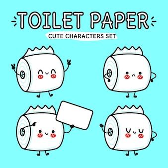 Funny cute happy toilet paper cartoon characters bundle set