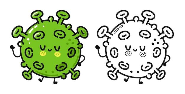 面白いかわいい幸せなウイルスキャラクターバンドルセット