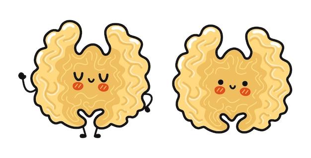 Funny cute happy walnut characters bundle set