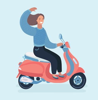 Funny cute illustration of girl on a motorcycle.