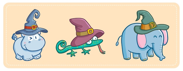 Funny and cute kawaii hippo, lizzard and elephant wearing witch hat for halloween.