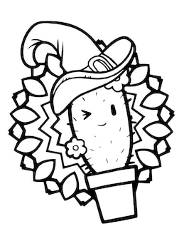 Funny and cute kawaii smiling cactus with pot wearing witch hat for halloween - coloring page