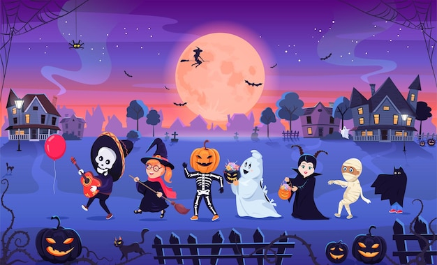 Забавные милые дети в страшных костюмах празднуют вечеринку в честь хэллоуина на улице города