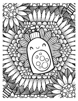 Funny and cute liquid handsoap packaging with mandala background - coloring page for adult