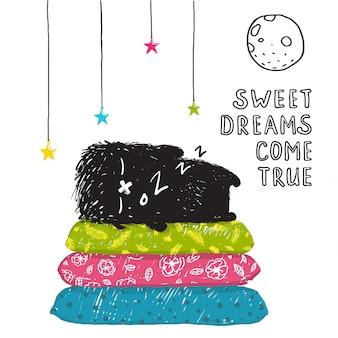 面白いかわいい小さな黒いモンスター眠りの夢が叶うグリーティングカードまたは招待状