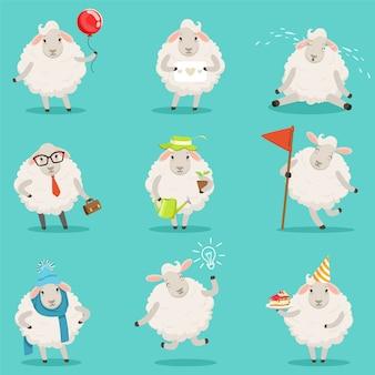 ラベルデザインの面白いかわいい羊の漫画のキャラクターを設定します。