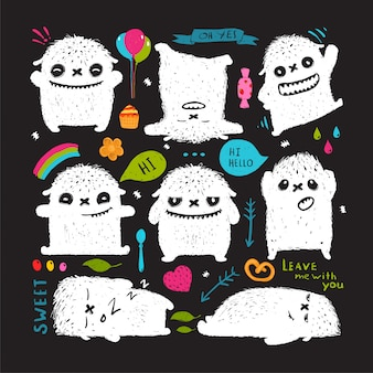 Funny cute little white monster  clip art collection