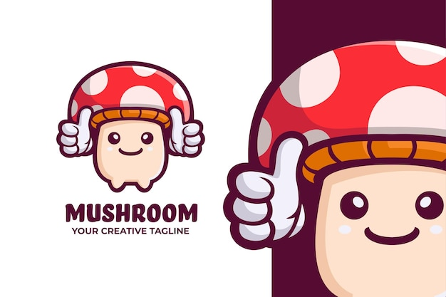 Забавный милый грибной талисман с логотипом
