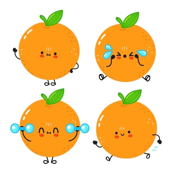 コーヒー漫画のキャラクターのバンドルセットの面白いかわいいオレンジ