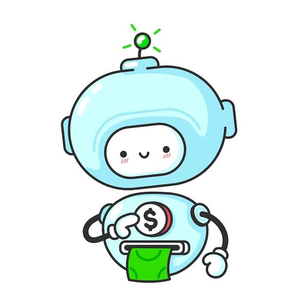 재미 있은 귀여운 로봇 돈을 흰색 절연 인쇄