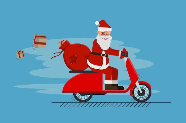 贈り物でいっぱいのバッグとスクーターに乗って面白いかわいいサンタクロース。メリークリスマスと新年あけましておめでとうございます。株式 。