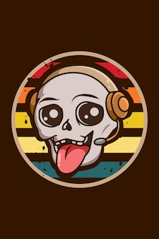 Funny and cute skull with earphone vintage illustration