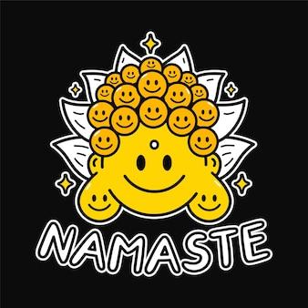 Смешная милая улыбка лицо будды для искусства печати футболки. текстовая цитата намасте. векторная линия каракули мультфильм графические иллюстрации дизайн логотипа. улыбка лицо будды, печать слова намасте для плаката, концепция футболки