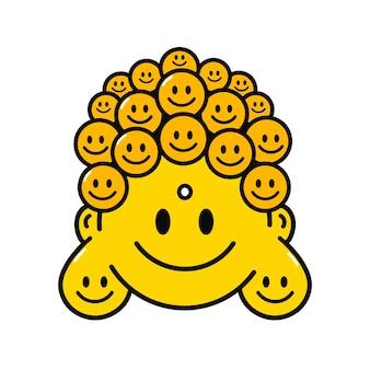 티셔츠 프린트 아트를 위한 웃긴 귀여운 미소 부처 얼굴. 벡터 라인 낙서 만화 그래픽 일러스트 로고 디자인. 흰색 배경에 고립. 포스터, t-셔츠 개념에 대 한 부처님 얼굴 인쇄 미소