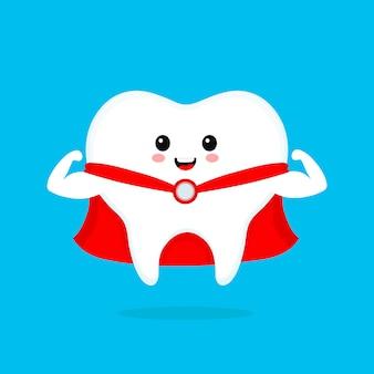 Смешно мило улыбаясь супер герой зуб. плоский мультипликационный персонаж иллюстрации значок белый зуб изолированный на сини. чистые здоровые крепкие зубы, стоматолог